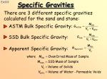there are 3 different specific gravities calculated for the sand and stone