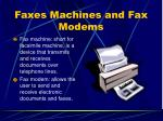 faxes machines and fax modems