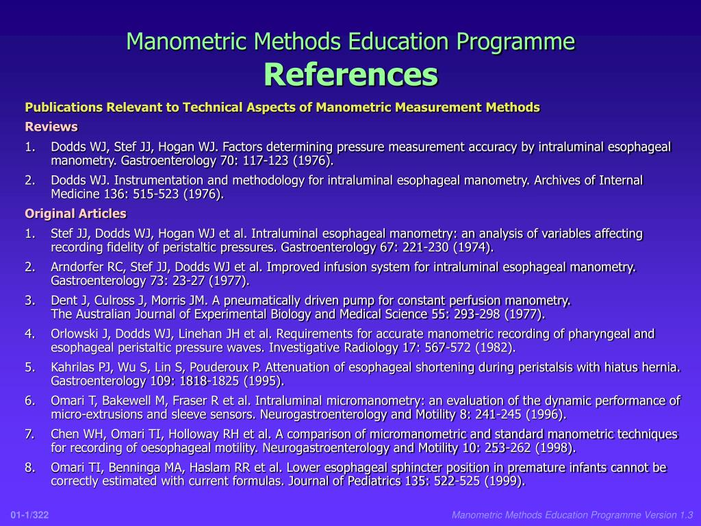 manometric methods education programme references l.