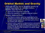 orbital motion and gravity