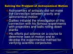 solving the problem of astronomical motion