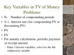 key variables in tv of money problems