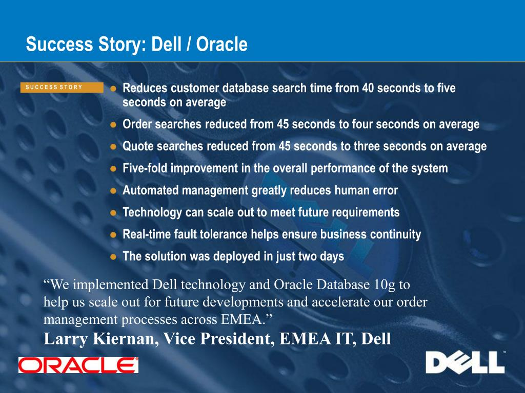 Dell Quote To Order Ppt  Success Story Dell  Oracle Powerpoint Presentation  Id358291