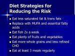 diet strategies for reducing the risk