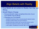 align beliefs with reality