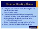 rules for handling stress