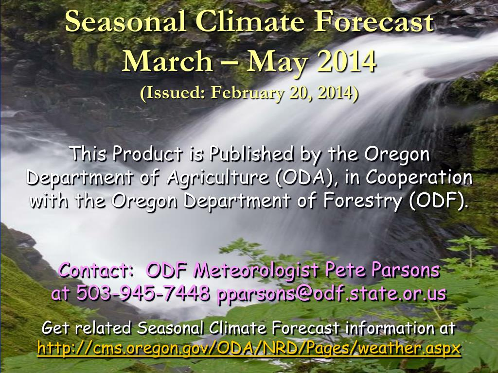 seasonal climate forecast march may 2014 issued february 20 2014 l.