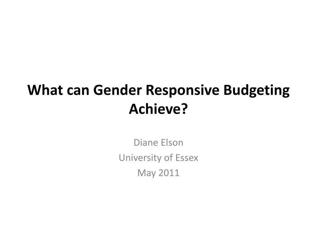 what can gender responsive budgeting achieve l.