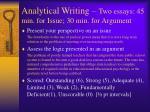 analytical writing two essays 45 min for issue 30 min for argument