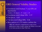 gre general validity studies