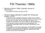 fdi theories 1960s