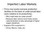 imperfect labor markets