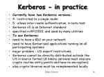 kerberos in practice