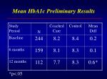 mean hba1c preliminary results