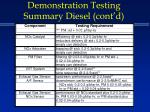 demonstration testing summary diesel cont d