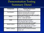 demonstration testing summary diesel