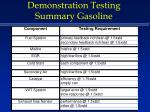 demonstration testing summary gasoline