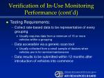 verification of in use monitoring performance cont d