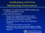 verification of in use monitoring performance