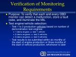 verification of monitoring requirements