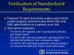 verification of standardized requirements