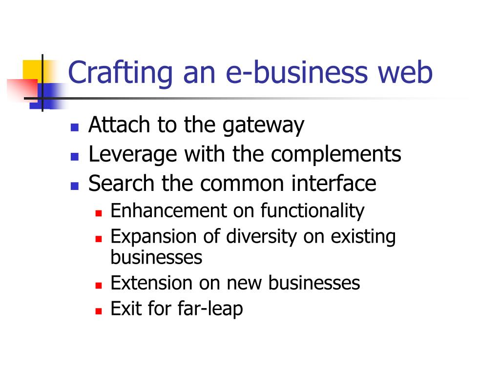 Crafting an e-business web