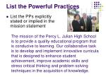 list the powerful practices