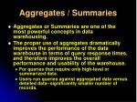 aggregates summaries