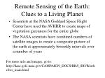 remote sensing of the earth clues to a living planet
