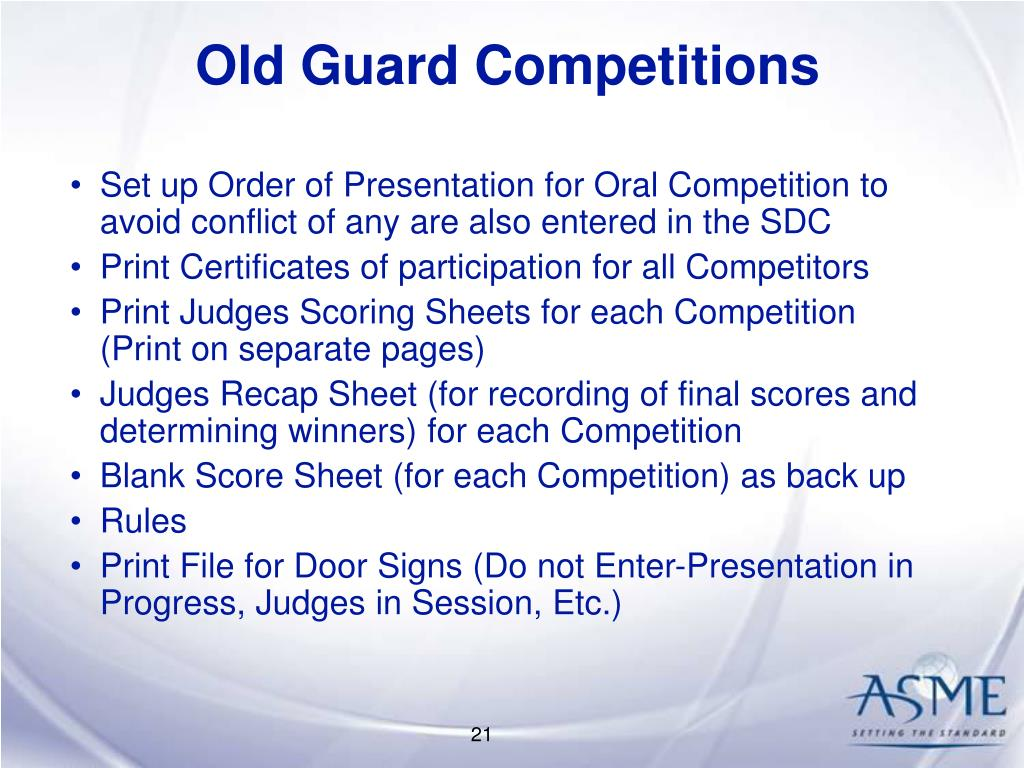Old Guard Competitions