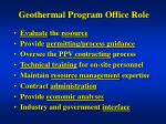 geothermal program office role