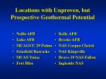 locations with unproven but prospective geothermal potential
