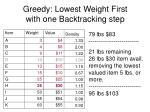 greedy lowest weight first with one backtracking step