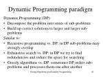 dynamic programming paradigm