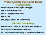 water quality units and terms concentrations