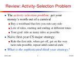 review activity selection problem