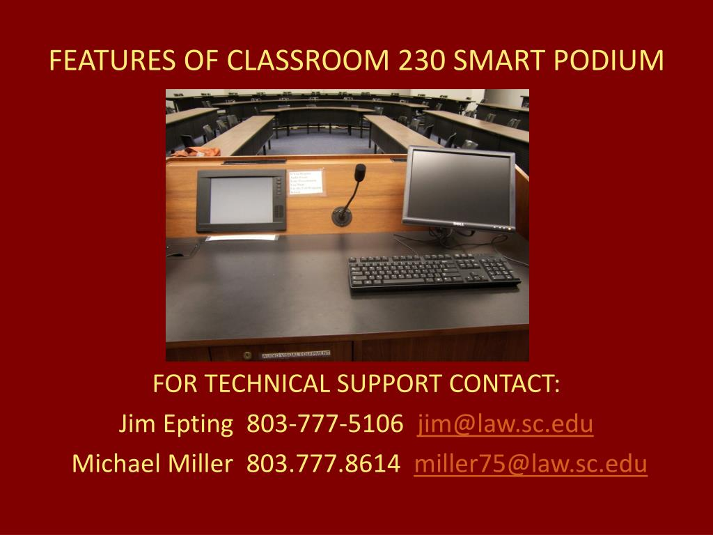 features of classroom 230 smart podium l.