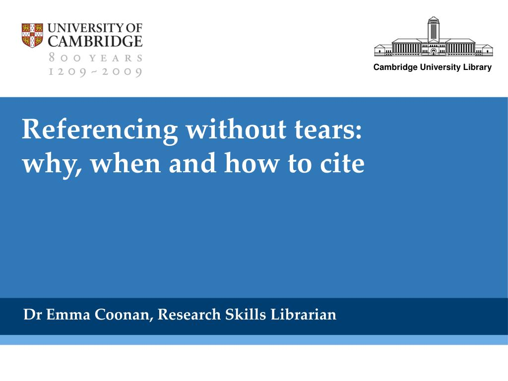 referencing without tears why when and how to cite l.