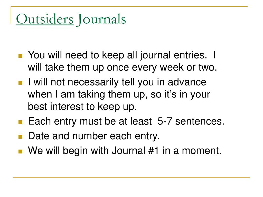 outsiders journals l.
