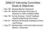 2006 07 internship committee goals objectives
