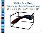 3d surface plots construction price unemployment q 246 27 p 0 2 p 2 73 u 3 u 2