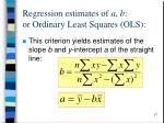 regression estimates of a b or ordinary least squares ols