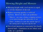 mowing height and mowers