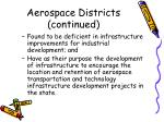 aerospace districts continued
