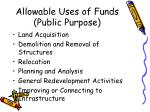 allowable uses of funds public purpose