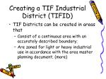 creating a tif industrial district tifid