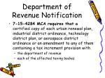 department of revenue notification