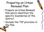 preparing an urban renewal plan