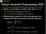integer quadratic programming iqp
