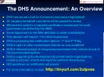 the dhs announcement an overview